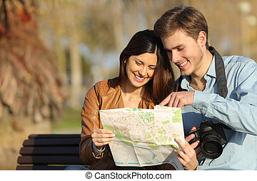 touristes, carte, recherche, dehors
