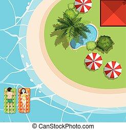 touristes, flotte, scène plage, deux