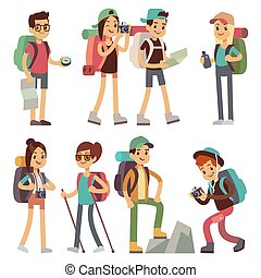 touristes, gens, caractères, pour, randonnée, et, trekking, voyage vacances, vecteur, concept