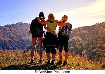 touristes, paysage., alpin, regarde, trois