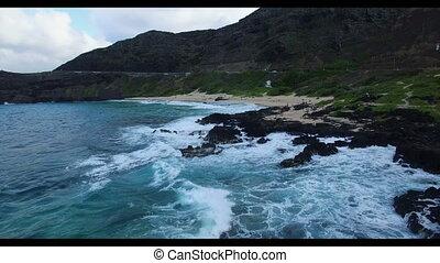 touristes, plage, mener, côte rocheuse