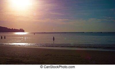 touristes, plage, ultrahd, baigner, vidéo, sunset., exotique