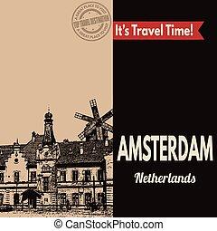 touristic, アムステルダム, レトロ, ポスター