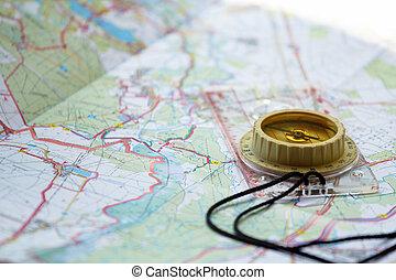 touristic, 古い, 地図, コンパス