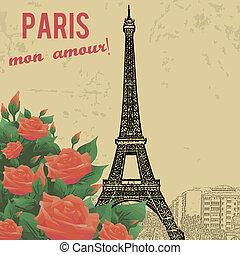 touristic, bakgrund, årgång, affisch