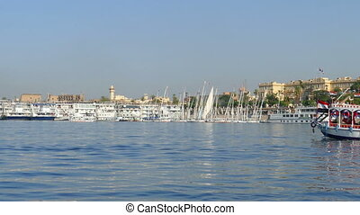 touristic boats and ships on Nile river in Luxor, Egypt