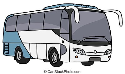 Blue And White Bus Hand Drawing Of A Blue And White Bus Not A