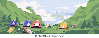 Touristic camp or campground with tents and campfire....