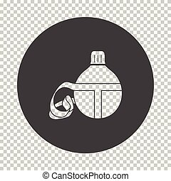 Touristic flask icon. Subtract stencil design on tranparency...