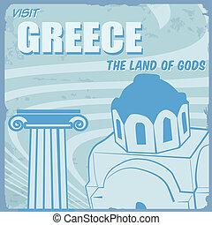 touristic, -, grekland, affisch, årgång