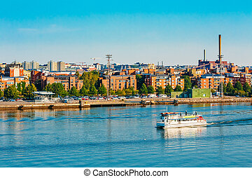 touristic, helsinki, finlandia, puerto, barco de recreo