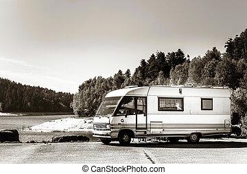 touristic, karavana, pobyt, blízký, ta, jezero