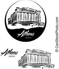 TOURISTIC LABEL Athens Greece lettering illustration