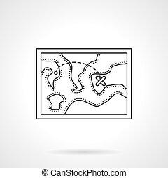 Touristic map flat line design vector icon