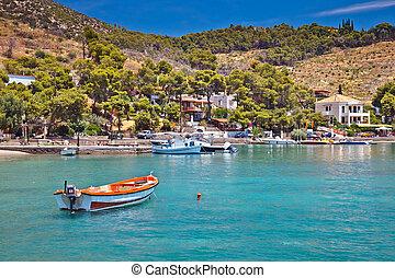 touristic, plocha, dále, poros, řecko