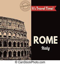 touristic, retro, rom, affisch