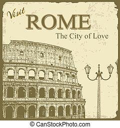 touristic, -, rom, affisch, årgång