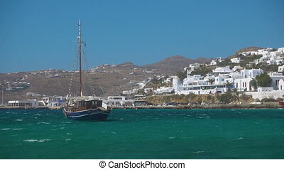 Mykonos - Touristic ship and port of Mykonos (Chora), Greece