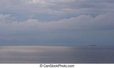 Touristic ship in the mediterranean sea. Travel.