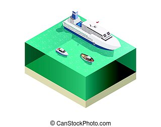 Touristic Ships Isometric Composition - Ships tourists...