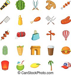 Touristic space icons set, cartoon style