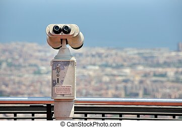 Touristic telescope with view of Barcelona from Mountain Tibidabo