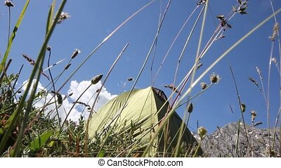 Touristic tent in mountain at summer.
