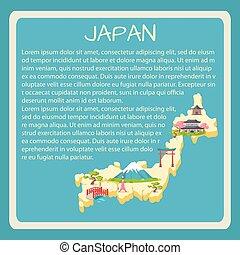 touristic, texto, encuadrado, vector, japón, bandera