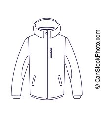 Touristic winter jacket isolated vector icon. Outdoor...