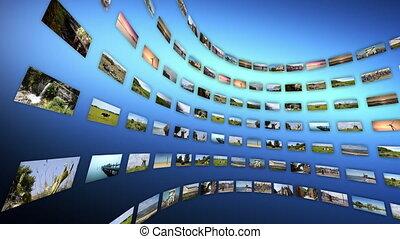 touristique, clips, vidéo, 4k, différent, rotating., loop-able, mur