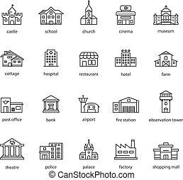 touristique, collection, icônes