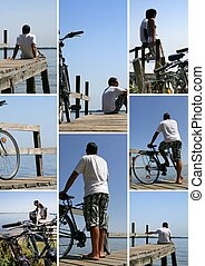 tourists and bikes on a wooden pontoon facing the sea