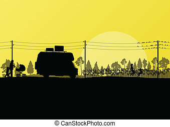 Tourists and camper vehicle in countryside forest field...