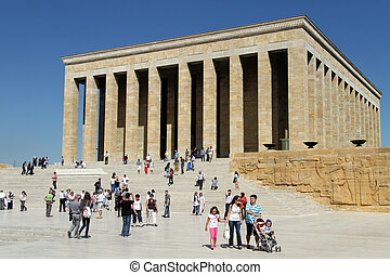 Tourists on the staircase of Ataturk mausoleum in Ankara