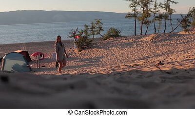 Tourists at Olkhon Island Lake Baikal.