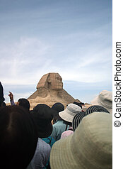 Tourists at The Ancient Sphinx - A tour group at the Sphinx ...