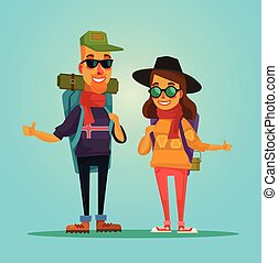 Tourists couple. Vector flat illustration