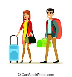 Tourists couple with travel bags. People traveling colorful cartoon character vector Illustration