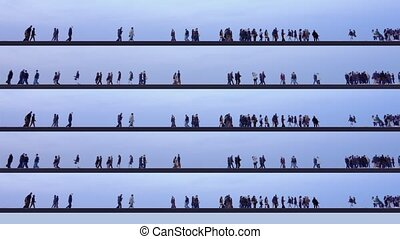 Tourists enjoy walking along black lines against blue sky