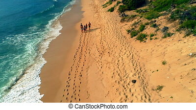 Tourists enjoying at beach 4k - Aerial view of tourists...