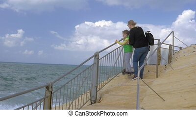 Tourists getting wet during visit to Rosh Hanikra - Slow...
