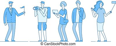 Tourists group. Guide young people with backpack family tourists tour groups girl take selfie man photographer travel vector concept