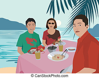Tourists having breakfast by beach