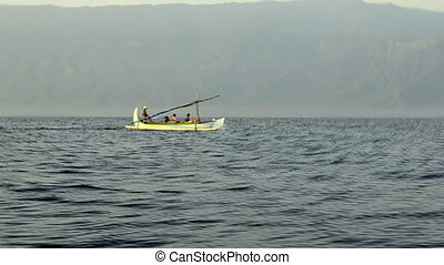 Tourists in a indonesian fisher-cat - Tejakula Bali -...