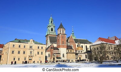 Tourists in the territory of the Wawel castle, Krakow,...