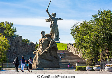 World War II Memorial in Volgograd Russia - Tourists in...