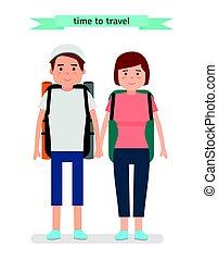 tourists., klar, travel., ung