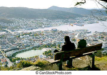 Bergen - Tourists observe the top view of Bergen, Norway