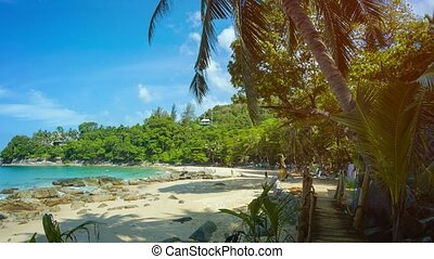 Tourists on a Shady Tropical Beach in Thailand - Video 1080p...