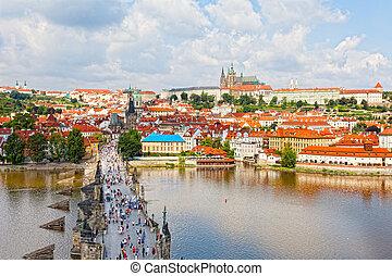 Tourists on Charles Bridge, Prague, Czech Republic